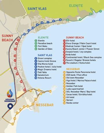 Карта на автобусните спирки на безплатния транспорт на Аквапарк Несебър